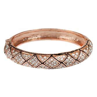 Mikey Gold Tone Patterned Crystal Set Bangle - Product number 4459563