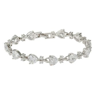 Mikey Silver Tone Crystal Heart & Square Link Bracelet - Product number 4459571