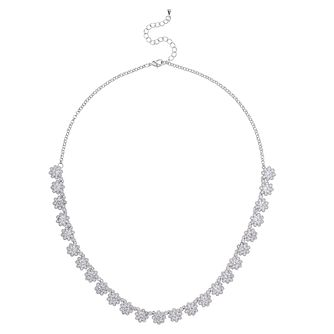 Mikey Silver Tone Crystal Set Flower Necklace - Product number 4459601