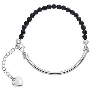 Hot Diamonds Sterling Silver Heart Charm Black Ball Bracelet - Product number 4460057