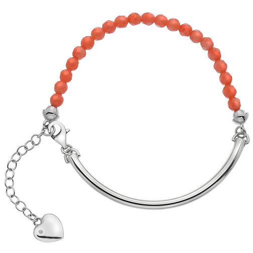 Hot Diamonds Sterling Silver Heart Charm Coral Ball Bracelet - Product number 4460073