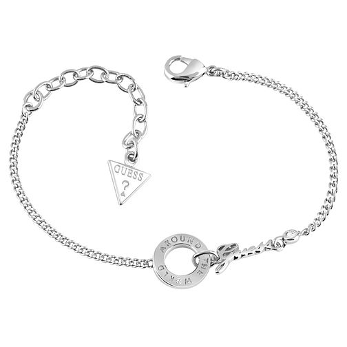 Guess Around The World Rhodium-Plated Disc Logo Bracelet - Product number 4460251