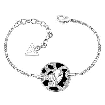Guess Rhodium-Plated Animal Print & Logo Disc Bracelet - Product number 4460618