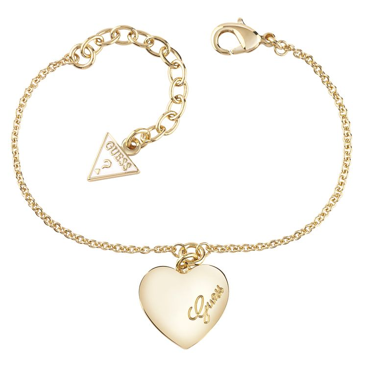 Guess Gold-Plated Heart Charm Adjustable Bracelet - Product number 4460774