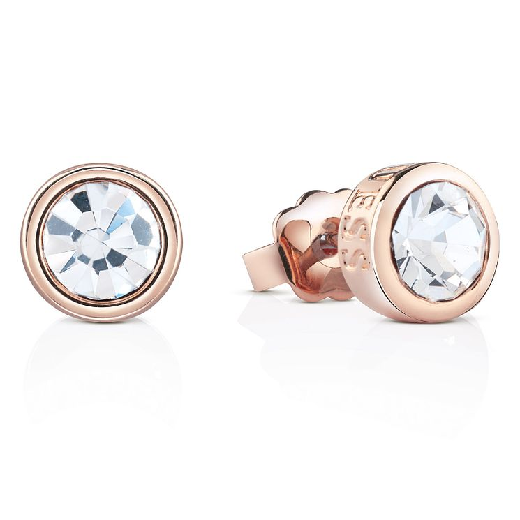 Guess Rose Gold-Plated Crystal Solitaire Stud Earrings - Product number 4461304