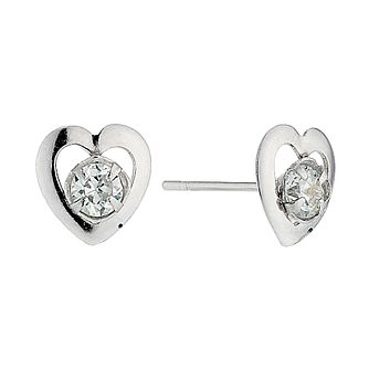 9ct White Gold Small Cubic Zirconia Heart Stud Earrings - Product number 4463692