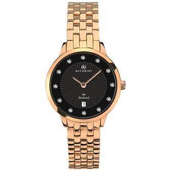 Accurist Ladies' Rose Gold Plated Steel Bracelet Watch - Product number 4464036