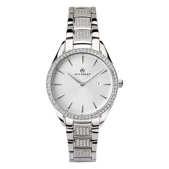 Accurist Ladies' Stainless Steel Stone-Set Bracelet Watch - Product number 4464060