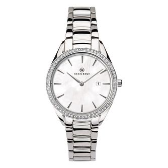 Accurist Ladies' Stone-Set Stainless Steel Bracelet Watch - Product number 4464079
