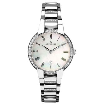 Accurist Ladies' Stone-Set Stainless Steel Bracelet Watch - Product number 4464087