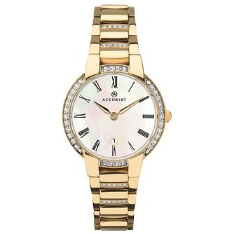 Accurist Ladies' Stone-Set Gold Plated Bracelet Watch - Product number 4464095