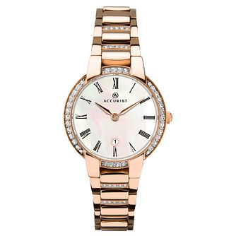 Accurist Ladies' Stone-Set Rose Gold Plated Bracelet Watch - Product number 4464109