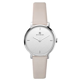 Accurist Ladies' Silver Dial Grey Leather Strap Watch - Product number 4464125