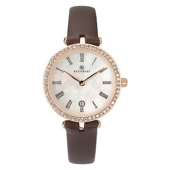 Accurist Ladies' Crystal Set Bezel Brown Strap Watch - Product number 4464397