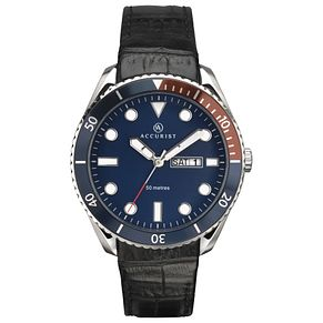 Accurist Men's Blue Dial Black Leather Strap Watch - Product number 4464451