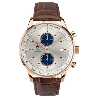 Accurist Men's Dark Brown Leather Strap Chronograph Watch - Product number 4464486