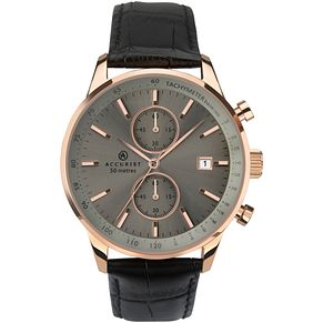 Accurist Men's Black Leather Strap Chronograph Watch - Product number 4464494