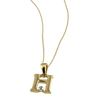 "9ct Gold Cubic Zirconia Set Letter H Pendant with 16"" Chain - Product number 4464729"