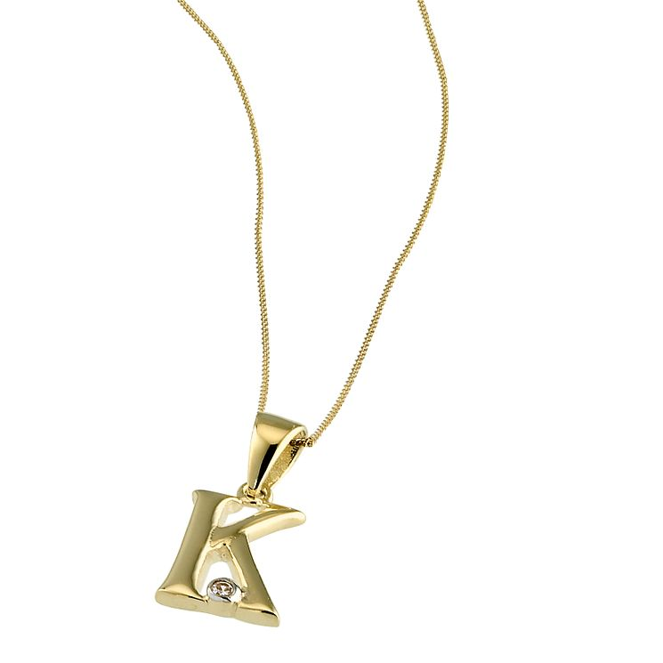 "9ct Gold Cubic Zirconia Set Letter K Pendant with 16"" Chain - Product number 4464753"
