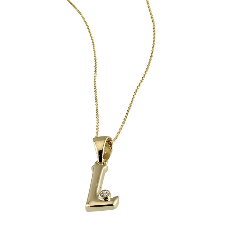 Initials necklaces hmuel 9ct gold cubic zirconia set letter l pendant with 16 chain product number 4464761 aloadofball Gallery