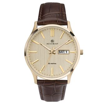 Accurist Men's Cream Dial Brown Leather Strap Watch - Product number 4465008