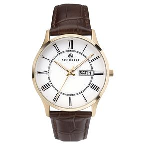 Accurist Men's White Dial Brown Leather Strap Watch - Product number 4465016