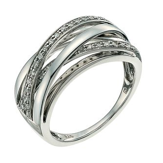 Sterling Silver 15pt Diamond Crossover Ring - Product number 4465830