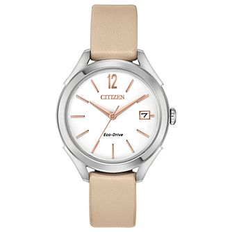 Citizen Eco-Drive Ladies' Nude Leather Strap Watch - Product number 4466918