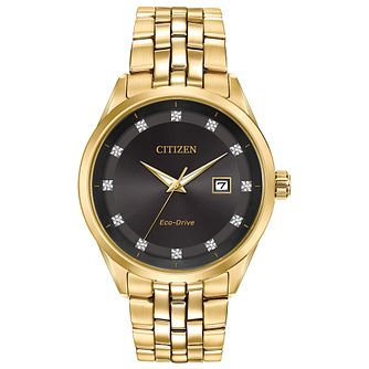 Citizen Eco-Drive Men's Corso Diamond Dial Gold Tone Watch - Product number 4467035