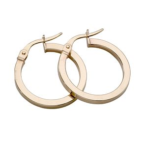 9ct yellow gold plain round Creole hoop earrings - Product number 4467590