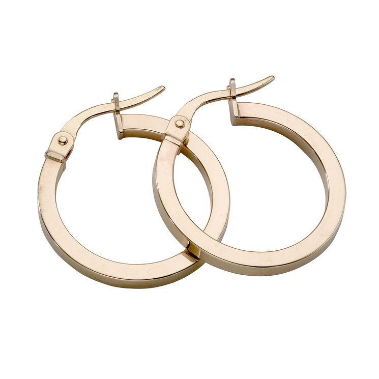 9ct yellow gold plain round Creole hoop earrings