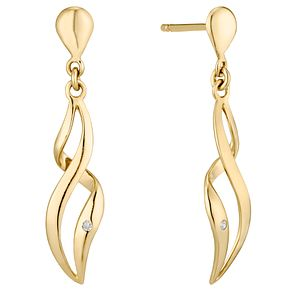 9ct Gold Diamond Set Figure Of 8 Drop Earrings - Product number 4471954
