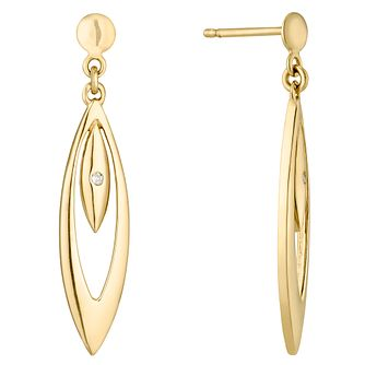 9ct Gold Diamond Set Double Teardrop Drop Earrings - Product number 4471962