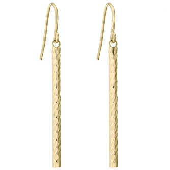 9ct Gold Diamond Cut Bar Drop Earrings - Product number 4472640