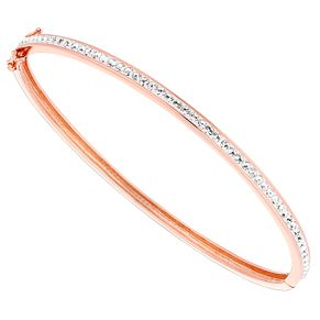 Evoke Rose Gold-Plated Swarovski Elements Hinged Bangle - Product number 4475852