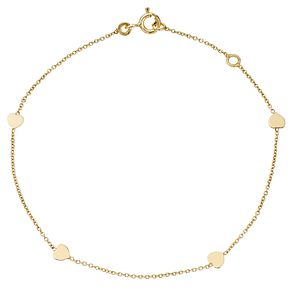 9ct Yellow Gold Delicate Hearts Bracelet - Product number 4477308