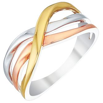 9ct Three Colour Gold Triple Wave Ring - Product number 4480007