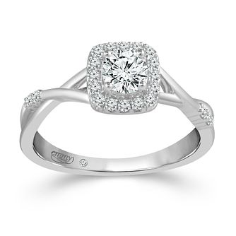 Emmy London 18ct White Gold 1/2ct Diamond Cushion Halo Ring - Product number 4481518