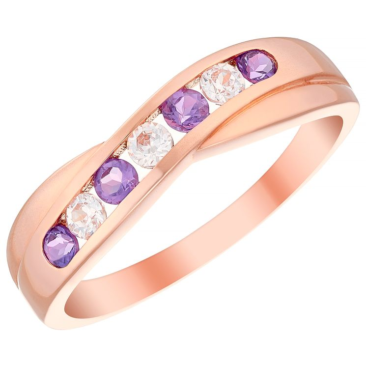 9ct Rose Gold Amethyst & Cubic Zirconia Half Eternity Ring - Product number 4482174