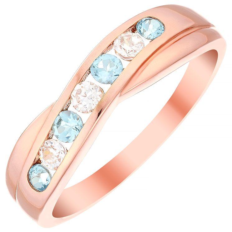 9ct Rose Gold Blue Topaz & Cubic Zirconia Half Eternity Ring