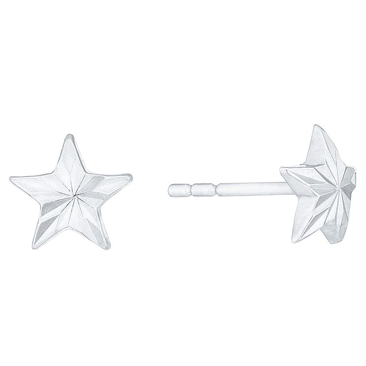 9ct White Gold Star Stud Earrings - Product number 4483073