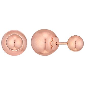 9ct Rose Gold Double Ball Stud Earrings - Product number 4483162