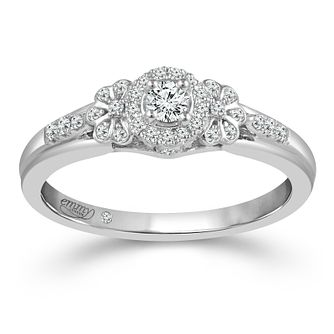 Emmy London 18ct White Gold 1/5ct Diamond Round Halo Ring - Product number 4485009