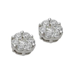 9ct white gold 0.50ct diamond cluster stud earrings - Product number 4486471