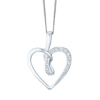 9ct White Gold Cubic Zirconia Heart Pendant - Product number 4487575