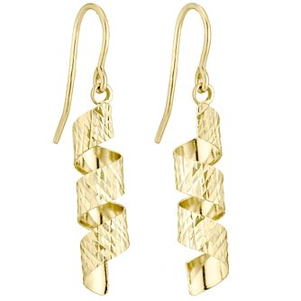 9ct Gold Diamond Cut Twist Drop Earrings - Product number 4488172