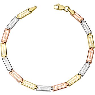 9ct Three Colour Greek Key Bracelet - Product number 4488180