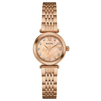 Bulova Ladies' Diamond Set Rose Gold-Plated Bracelet Watch - Product number 4488393
