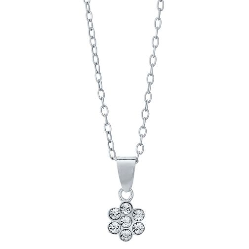Children's Sterling Silver Crystal Set Small Flower Pendant - Product number 4489985