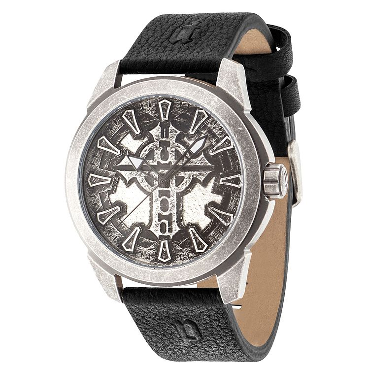 Police Men's Gunmetal Dial Black Leather Strap Watch - Product number 4490126